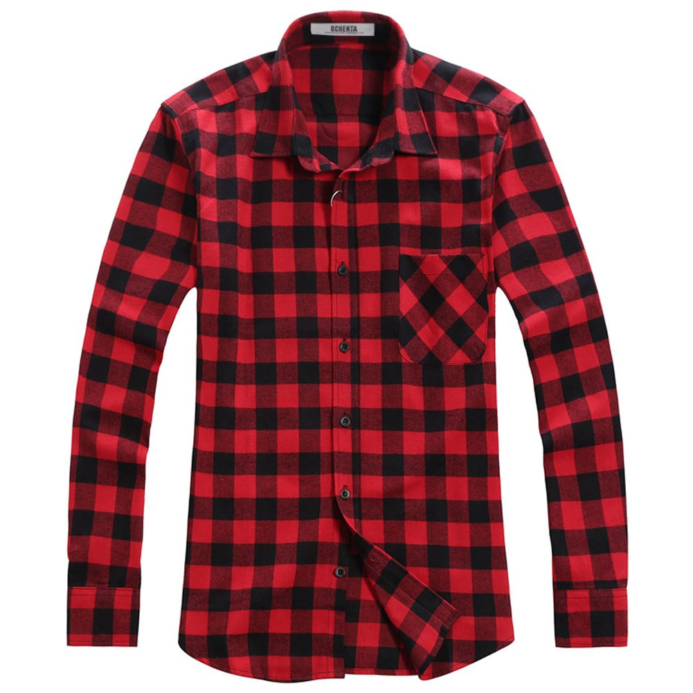 Galleon ochenta men 39 s slim fit long sleeve plaid flannel for Mens slim fit flannel shirt