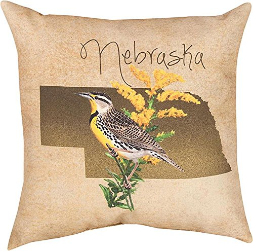 "Throw Pillows - Nebraska State Pillow - 18"" Square - Indoor Outdoor Pillows"