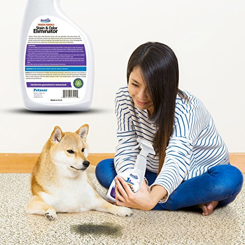 Petseer Pet Odor Eliminator And Stain Remover Stop Cats From Peeing And Dog Re Marking 32 Oz