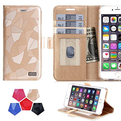 iPhone6s ケース iPhone6ケース ,Fyy® 100%手作り 良質PUレザーケース 横開き 手帳型 二つ折り カードホルダー付き スタンド機能 マグネット開閉 保護カバー ゴールド