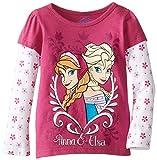 Disney Little Girls' Anna and Elsa Long Sleeve T-Shirt