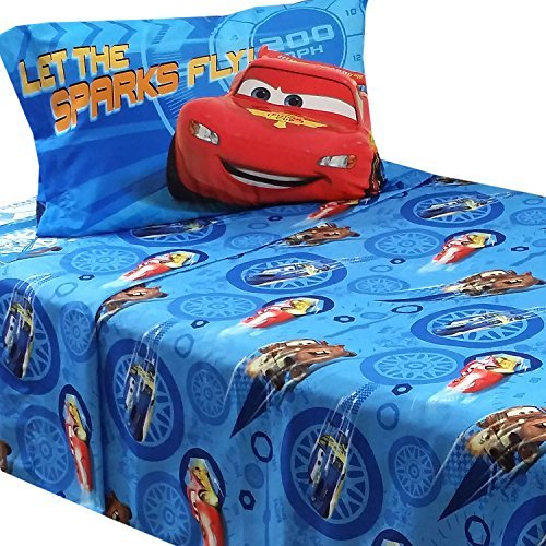 3pc Disney Cars Twin Bed Sheet Set Lightning Mcqueen City Limits Bedding Accessories Furniture Beds