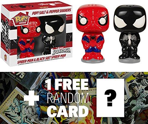 Spider-Man (Red/Blue & Black Suit): Funko POP! Home x Marvel Universe Salt & Pepper Shakers + 1 FREE Official Marvel Trading Card Bundle [56018]