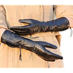 Luxury Womens Soft Plush Lined Long Elbow Leather Gloves