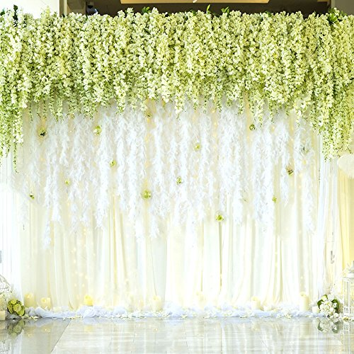 Mavee 12 Pcs 3.6 Feet Artificial Silk Wisteria Vine Ratta Silk Hanging Flower Wedding Decor (white)