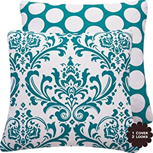 "Turquoise Mist Collection - 20"" Square Decorative Throw Pillow Cover - Damask and Polka Dots - White and Blue Hues - 1 Pillow Cover, 2 Looks"