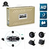 CarThree 360 Degree Bird View System Waterproof Seamless 4 Camera Car DVR Universal All Round View Camera System with Super Hd 1080P Night Vision for All Car (Color: Gold-360°)