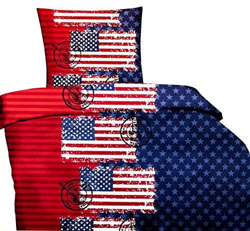 2-teilig Bettwäsche Microfaser 135 x 200 cm USA Flagge United States Bezug mit Reißverschluss, blau / rot