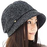 メランジダウンハット 帽子 大きいサイズ レディース ハット つば長 つば広 紫外線対策 UV 小顔効果 防寒対策 秋冬 【XLサイズ(58-61cm)-ブラック】