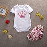 Newborn Infant Baby Girls Clothing 2pcs Party Crown Romper+Floral Pants (S(0-3months))