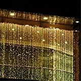 AGPtEK 3Mx3M 300LED String Light Curtain Light for Christmas Xmas Wedding Party Home Decoration - Warm White