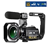 Video Camera 4K, ORDRO AC3 4K 30X Digital Zoom 3.1 IPS Ultra HD WiFi Camcorder with External Microphone, Wide Angle Lens, Hand Holder and Lens Hood