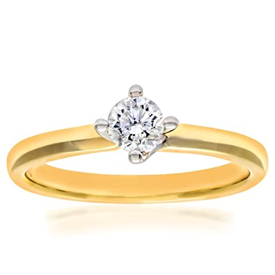 Naava 18ct Yellow Gold Twist Head Engagement Ring, G/VS2 EGL Certified Diamond, Round Brilliant, 0.39ct