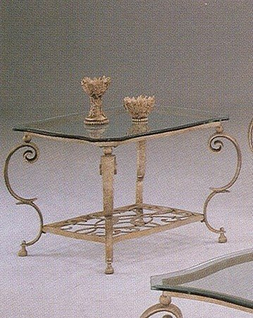 Cheap Antique Light Bronze Wrought Iron Base Glass Top Scroll Design Side End Table (VF_7618)