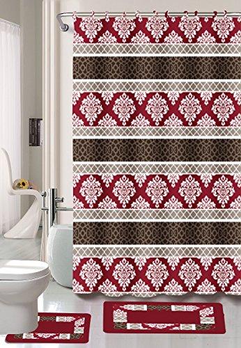 Burgundy/Black/Red Jane 15-Piece Bathroom Set: 2-rugs/mats