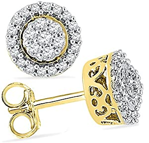Diamond Halo Earrings 1/4 CTW 10k White or Yellow Gold Total of 50 Diamonds