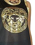 Womens Fashion 2pcs Set Top & Shorts Lion Metallic Greek Foil Print Fish Net Jersey