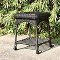 Wicker Lane OTI001-D Outdoor Black Wicker Patio Furniture End Table by Wicker Lane