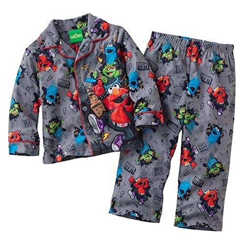 Sesame Street Little Boys' Elmo Flannel Coat Style Pajamas (3T) front-198197