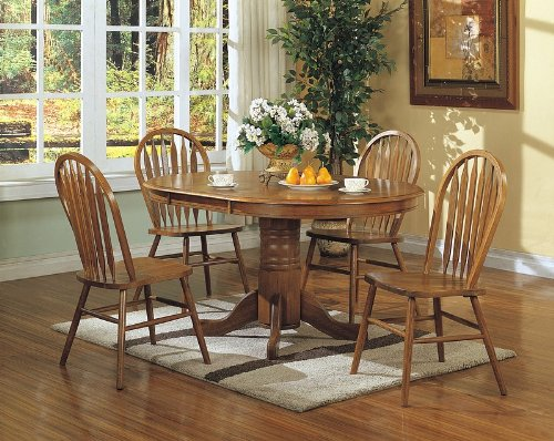 price coaster 5pcs country solid oak nostalgia dining table 4 chairs