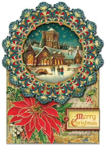 Punch Studio Christmas Dimensional Greeting Cards: Winter Cathedral with Gold Foil Embellishment (Set of 12)