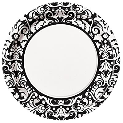 2 X 8 Count Damask Dinner Plates, 9-inch, Black