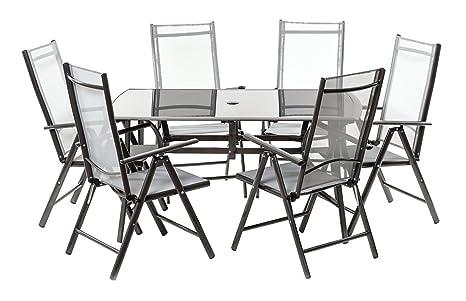 Set tavolo con top in vetro 150x90cm e 6 poltrone reclinabili 5 posizioni. TUTTO IN ALLUMINIO E TEXTILENE