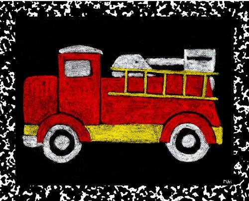 Green Frog Art Wall Decor, Fire Truck - Recess IV