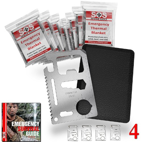 Credit Card Survival Tools - 11 In 1 Credit Card Tool (4 Pack) - The Ultimate Survival Tool Making It An Integral Part Of Your Survival Gear. This Sos Rescue Tools Multi-Tool Comes With 8 Emergency Mylar Blankets - 100% Money Back Guarantee