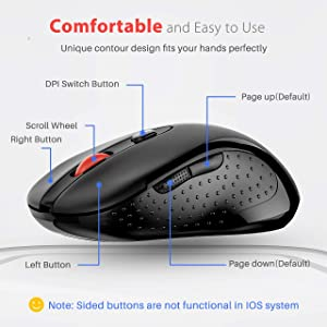 VicTsing 2.4G Wireless Mouse Wireless Optical Laptop Mouse with USB Nano Receiver, 6 Buttons,5 Adjustable DPI Levels,15 Months Battery Life, Ideal for Work, Study and Sport Fan (Color: Black)