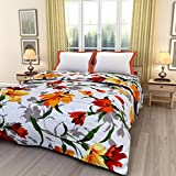 ECraftIndia Colorful Floral Design Printed Double Bed Reversible AC Blanket