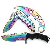 Snake Eye Tactical Triple Set - Karambit/Mini Huntsman/Folding Knife - Outdoors Hunting Camping Fishing Self Defense … (Rainbow) (Color: Rainbow)