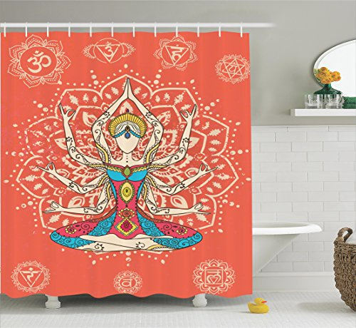 [Ambesonne Yoga Decor Collection, Yoga Technique with Ethnic Costume Insignia Zen Discipline Your Body and Mind Artprint, Polyester Fabric Bathroom Shower Curtain Set with Hooks, Cream Red] (Ethnic Costume For Men)
