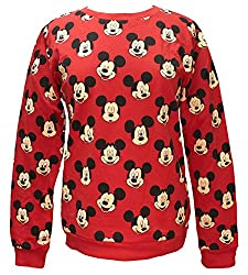 Disney Mickey Mouse Face Expressions Juniors' Long Sleeve Crew Shirt X-Small