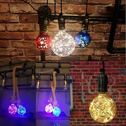 KINGSO G95 Vintage Edison Bulb,E27 Base 3W 300LM Antique Filament Globe Spiral Design LED Lights for Christmas Home Party Cafes Bars Decoration Warm White 3