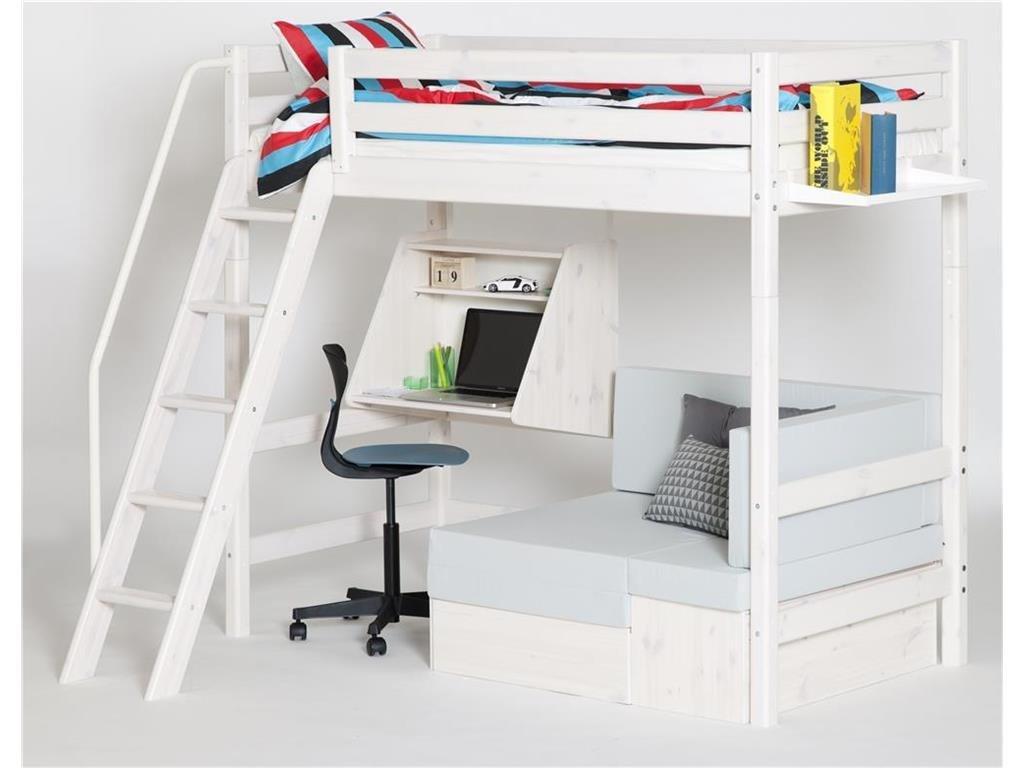 Hochbett Weiß mit schräger Leiter, Schreibtisch, 90x190cm, Flexa Classic