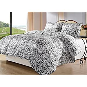 Cozy Beddings BH5010-T Snow Leopard Reversible Down Alternative Animal Print Comforter Set, Twin, Gray/White