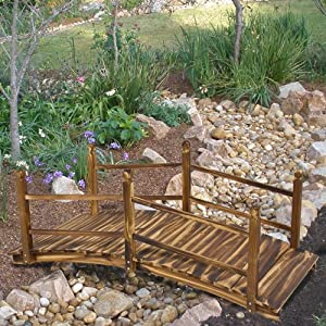 Best Choice Products® New 5' Decorative Stained Finish Wooden Bridge Garden Pond Outdoor Decor