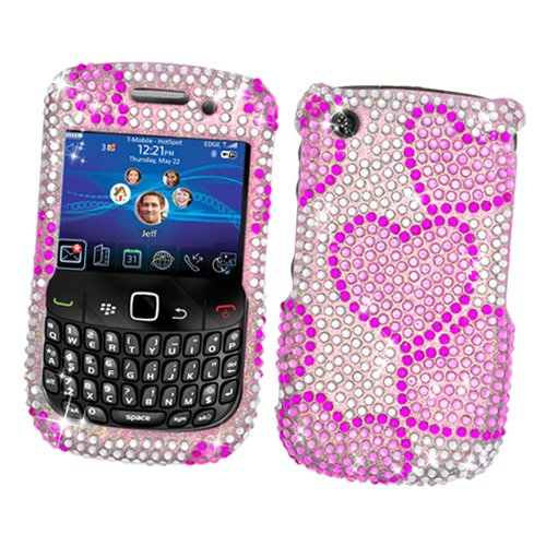 RIM BlackBerry Curve 3G 9300 (T-Mobile) & Gemini Curve 8520 & 8530 Snap-on Protector Hard Case Rhinestone Cover