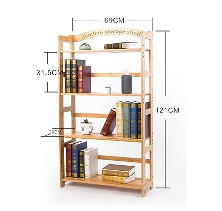 Artículos de uso doméstico 3/4 Tiers Estantería de madera maciza Simple Almacenamiento Muebles de gabinete Organizadores de bambú Estanterías -CRS-ZBBZ ( Tamaño : 4 tiers )