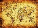 インテリアに 最適  絵画風 アンティーク 世界地図 レトロクラフト 油絵用綿布製 両面テープ付 (超特大(120×88cm)+両面テープ10枚が付いた2点セット商品)