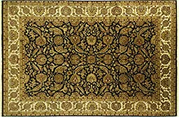 12\'x19\' Black/Ivory Orietnal Floral Rajasthani Hand Knotted Wool Area Rug H8846