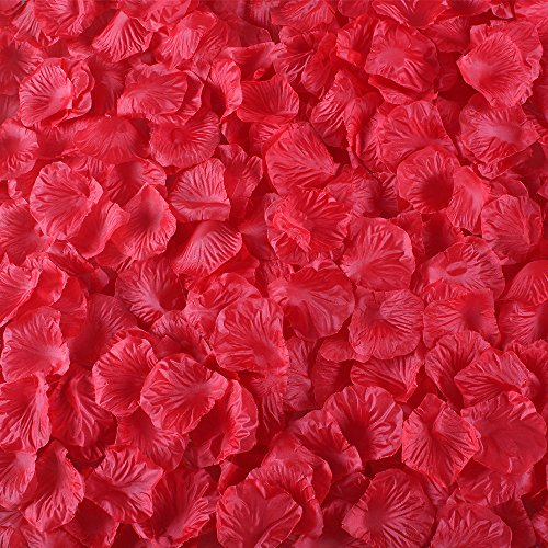 Gtidea 2000 Pcs Artificial Flowers Silk Rose Petals Wholesale Home Party Ceremony Wedding Decoration Red (Freeze Dried Rose Petals Blue compare prices)