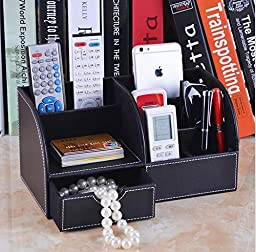 Multifunctional PU Leather Office Desk Organizer Stationery Storage Box Collection with 7 Storage Compartments (Black)