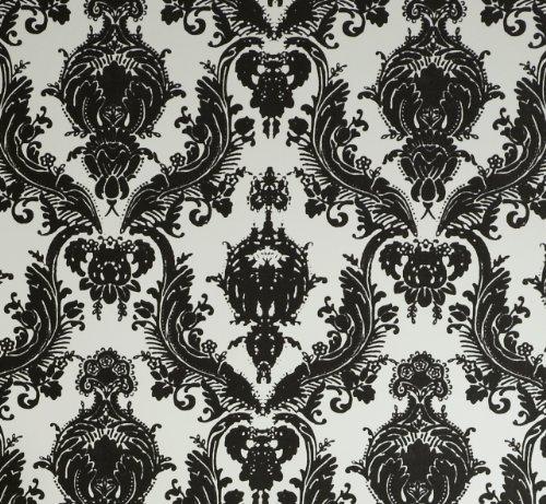 Tempaper Designs DA 005 Damsel Self-Adhesive Temporary Wallpaper, White and Black