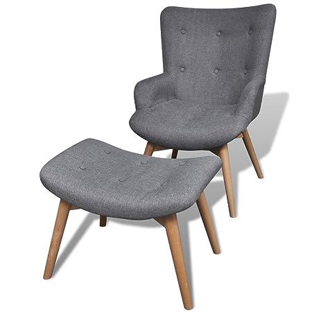 Festnight Gepolsterter Sessel mit Hocker Relaxsessel mit Armlehne Wohnzimmersessel Polstersessel Grau