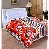 Bed & Bath Fannel Double Blanket - Orange And Beige