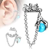 Crown With Chain and Dragon Ball Fake Non Piercing Dangle Cuff