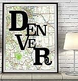 Denver Colorado Vintage Typography Map Art Print, UNFRAMED, Retro Antique Road Atlas, Wedding - Engagement - Anniversary - Valentines day - Christmas - Housewarming gift, ALL SIZES