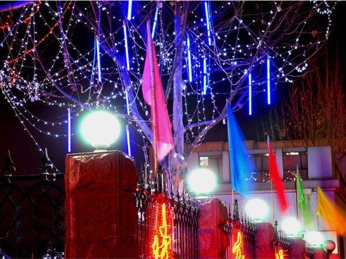 Egoodbest New Meteor Shower Rain Led Light Tube String Lights Decoration Tree Party Valentine Romantic Blue